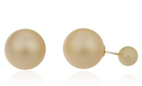 Rose Simulated Pearl Round Reflective Stud Earrings