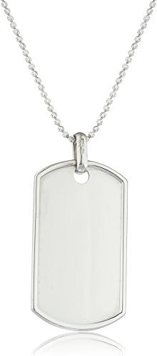 925 Sterling Silver Outlined Dog Tag with 2mm Moon Cut Chain (Large with 24 Inches)