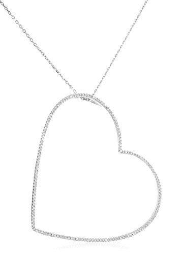 14K White Gold with Diamonds Large Heart Pendant with a Silver 20 Inch Necklace