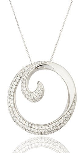 925 Sterling Silver Micro Pave Cubic Zirconian 15 Inch Swirl Shaped Necklace