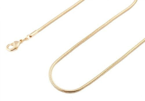 2 Pieces of Goldtone 1.4mm 30 Inch Snake Franco Chain Necklace