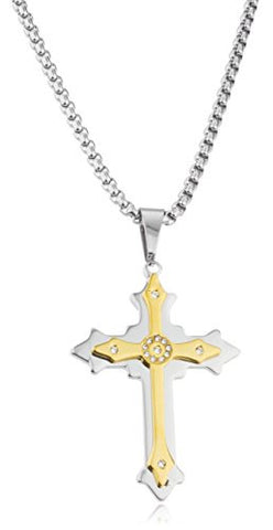 Large Stainless Steel Two-tone Ancient 3d Double Cross Pendant with Centered Stones and a 24 Inch Round Box Chain Necklace