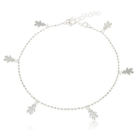Sterling Silver Anklet 10 Inch Beaded Chain with Little People Charmed
