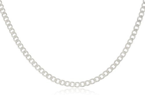 925 Italy Sterling Silver 3mm Solid Cuban Link Curb Chain Necklace