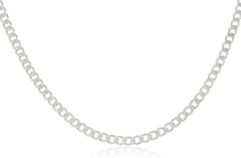 3mm Solid 925 Sterling Silver Cuban Link Curb Chain Necklace, Made in Italy