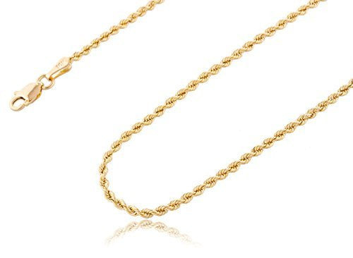 10k Yellow Gold 2.5mm Solid D-cut Rope Chain Necklace 20-24inch