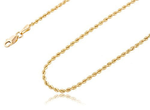 "10k Yellow Gold 2.5mm Solid D-cut Rope Chain Necklace - 18"" 20"" & 24"" Available"