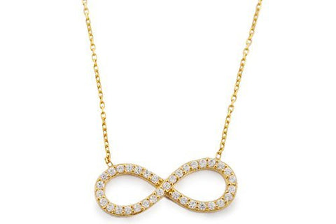 925 Sterling Goldtone with Clear Infinity Cubic Zirconia Stones Pendant with an 18 Inch Necklace