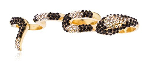 Goldtone 4 Finger Snake Cuff Ring with Clear & Black Stones
