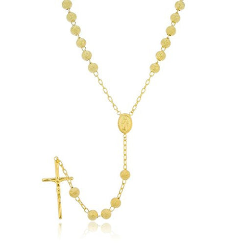 925 Sterling Silver 7mm 32 Inch Gold Frosted Sandblast Beaded Rosary Necklace with Dangling Cross