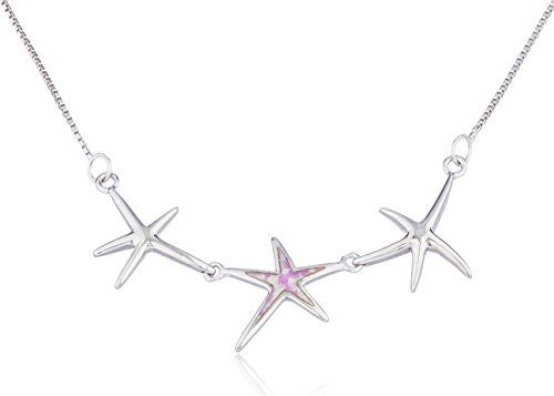 925 Sterling Silver Triple Star with Created Opal 18 Inch Box Necklace (Pink)