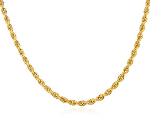 14k Yellow Gold 2.7mm D-cut 24 Inch Hollow Rope Chain Necklace