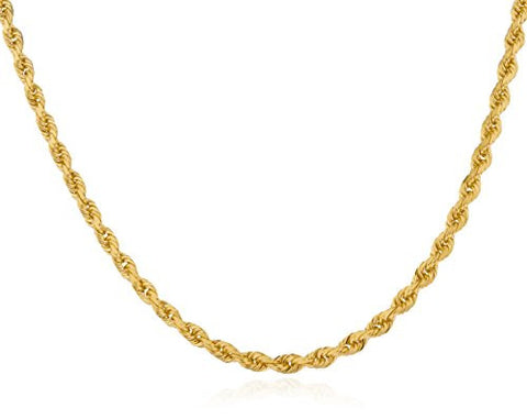 14k Yellow Gold 2.7mm D-cut Hollow Rope Chain Necklace 24Inch