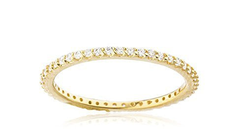 925 Sterling Silver Goldtone Simple Ring Band with Cz Stones - Available in Sizes 6 to 9