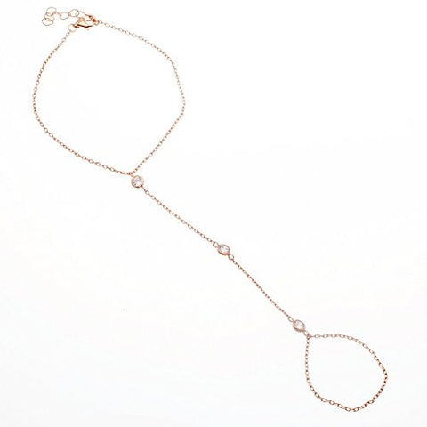 925 Sterling Rose-Gold-Plated 'By The Yard Gypsy' Adjustable Hand Wrist Bracelet with CZ stones