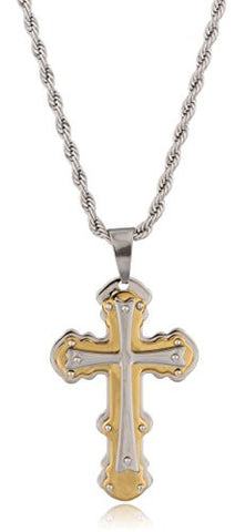 Large Stainless Steel Two-tone Ancient Triple Cross Pendant with a 24 Inch Rope Chain Necklace