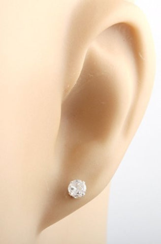 925 Sterling Silver 4mm Cubic Zirconium Round 4 Cut Stud Earrings