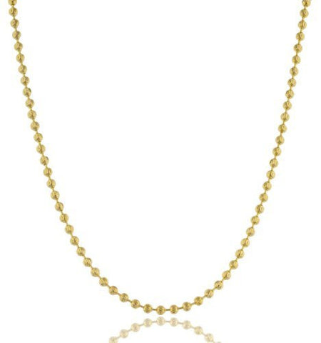 Gold 3mm Moon Cut Beaded Necklace