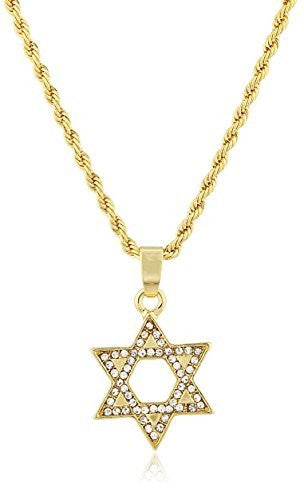 Star of David Micro Pendant Necklace with 24.5 Inch Rope Chain - Available in Goldtone or Silvertone