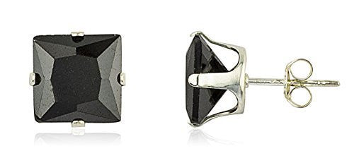 925 Sterling Silver with Black Square...