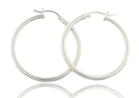 Sterling Silver Hoop Earrings 1.5 Inch (38mm)