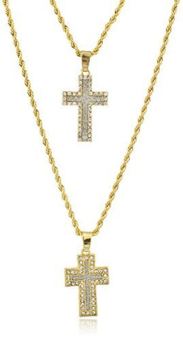 Double Layer Necklace with Iced Out Bordered Cross Micro Pendants 22.5-27 Inch Rope Chain