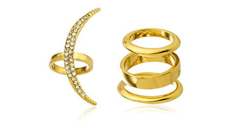Goldtone Crescent Moon Ring with Clear Stones - One Size Fits Most