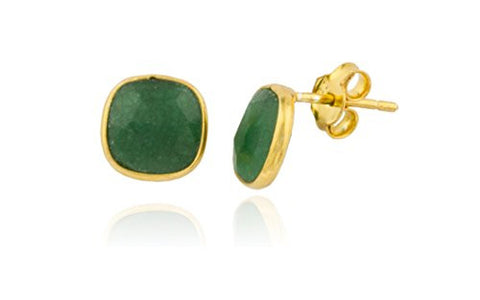 925 Sterling Silver Goldtone Simulated Emerald Square Stone Earrings