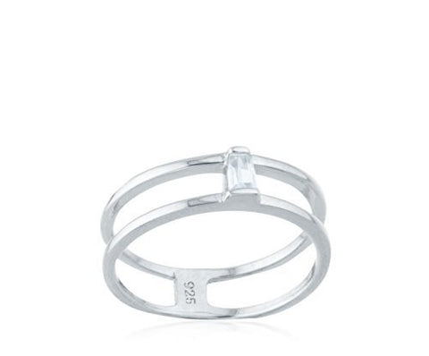 925 Sterling Silver Two Row with CZ Stone Ring