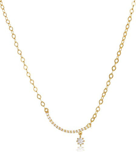 925 Sterling Silver Goldtone Cz Moon and Star Pendant with an Adjustable 18 Inch Necklace