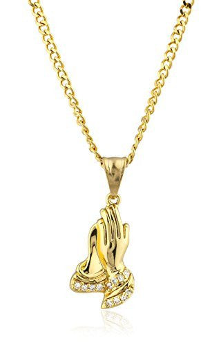 Stainless Steel Goldtone Praying Hands Pendant with 24 Inch Cuban Chain