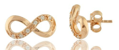 Sterling Silver Stud Earrings Infinity with Cubic Zirconia Stones (Rose Goldtone)