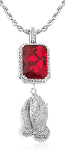 Men's 925 Sterling Silver Simulated Red...