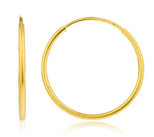14k Yellow Gold 1mm Endless Hoop Earrings 10mm - 18mm