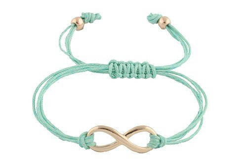 4 Pieces of Mint with Goldtone Infinity Adjustable String Bracelet