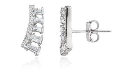 Sterling Silver Stud Earrings Mini Circle and Rectangle CZ Stones Ear Crawlers