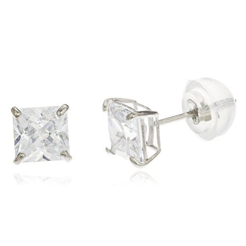14K White Gold 8mm Square Basket Setting Cz Stud Earrings with Silicone Back