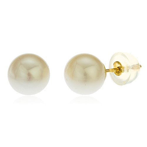 14k Yellow Gold 7mm Fresh Water Simulated Pearl Stud Earrings with Silicone Back