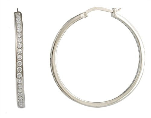 925 Sterling Silver Cubic Zirconia Iced Out 1.55 Inch Hoop Earrings