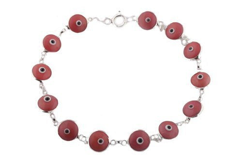 Berry Pink Sterling Silver Evil Eye Bracelet
