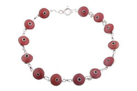 Berry Pink Real 925 Sterling Silver 7 Inch Evil Eye Bracelet