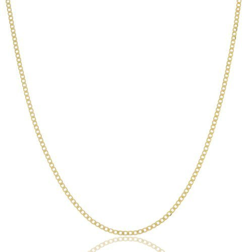 1.5mm 925 Sterling Vermeil Flat Cuban Chain