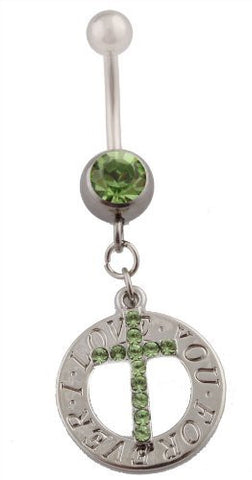 "Green Iced Out Cross with ""I Love You Forever"" Circle Emblem and Green Rhinestones Surgical Stainless Steel Belly Ring"