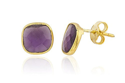 925 Sterling Silver Goldtone Simulated Tanzanite Square Stone Earrings