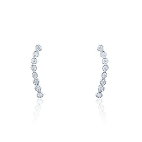 Sterling Silver Stud Earrings with CZ Stone Circle Cluster