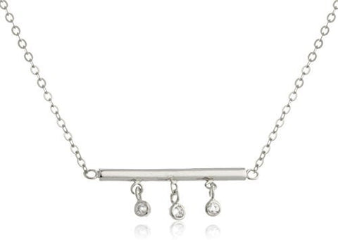 925 Sterling Silver Simple Bar Pendant with Cz Stones Necklace