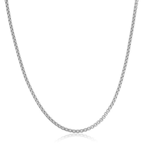 "Men's 925 Sterling Silver 3.3mm Solid Round Box Chain - 24"" Available (24)"
