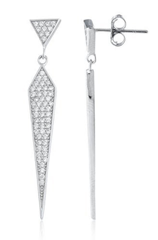 Sterling Silver Stud Earrings Symmetrical Triangle Dangling with CZ Stones