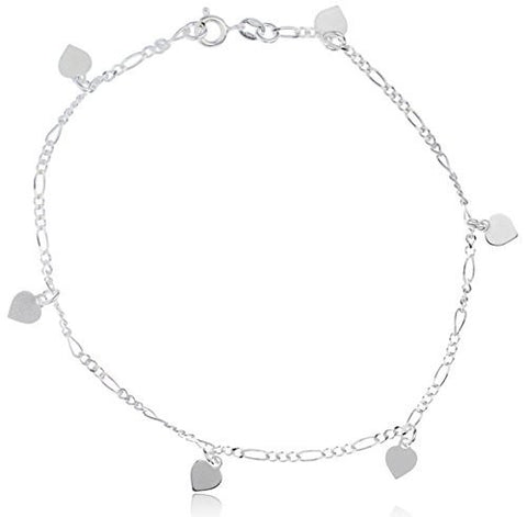 Sterling Silver Anklet 9.5 Inch Figaro with Mini Heart Charms