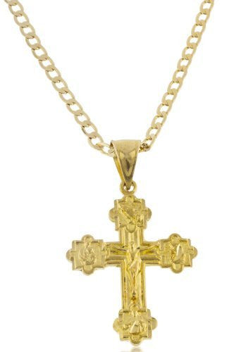 Goldtone Brass Jesus Piece on Cross with Symbols Pendant with a Cuban Chain Necklace (20 Inches)
